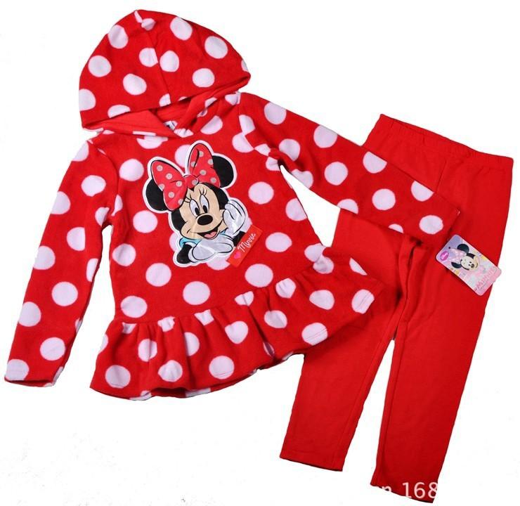 New design girls minnie mouse hoodies+pants suit cartoon kids Autumn/winter clothing set children's hoody set wholesale 4set/lot(China (Mainland))