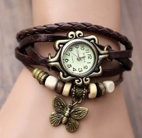 Wholesale High Quality Women Genuine Leather Vintage Watch,bracelet Wristwatches butterfly for Xmas Gift jewelry