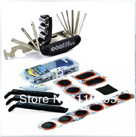 New 2013 outdoor 16 in 1 multi-function bicycle repairing tool set portable bike tire repair glue suit crowbar+wrench+patche