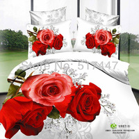 red roses white flowers bedding sets 4pcs 100% cotton bed duvets covers quilts comforters for queen size bedclothes bedspreads