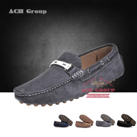 2013 New fashion 100% genuine leather men's luxury brand slip on flats comfortable causual leather shoes 4 colors on sale