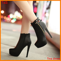 Free shipping rivet vintage motorcycle new boots for women ankle high heels hasp platform fashion thin heels large size9-12 5110