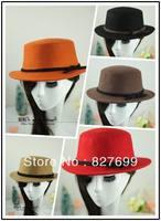 Fashion vintage bow woolen fedoras fashion dome big flat brim hat for women's autumn and winter