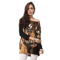 Free Shipping 2013 New Fashion Plus Size Clothing Tiger Cashmere Rhinestones Full Print Knitting Dress RG1310019
