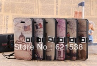 Free Shipping 1pcs Retro scenic spot Flip Leather Case Cover  for iphone5S with Stand+7 Different Colors