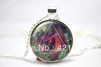 Galaxy Triangle Necklace, Hipster Nebula Jewelry, Geometric Star Pendant  Glass Cabochon Necklace