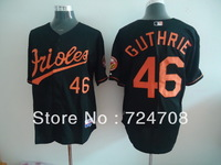 Free shipping! Wholesale baltimore orioles 46 Guthrie black Men jersey Embroidery logos COOL BASE Size:48-56