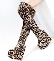 2013 new arrival spring and autumn flat tall boots ultra high-heeled shoes 16cm wedges boots leopard print knee-length boots