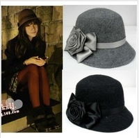 2013 Autumn Women's Fashion Cap Hat Cap Small Fedoras Cashmere Hat Wool Hat Flower Hat Free Shipping