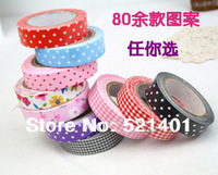 Free Shipping wholesale 62 patterns washi tape Fashion diy decoration cloth fabric tape  fabric dot tape  multicolour tape
