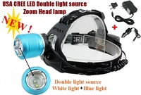 2800 CREE XM-L T6 LED 1600LM Rechargeable Double light source white light blue light zoom head lamp For 2x18650 Battery+ Charger