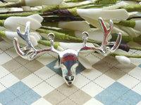 Free shipping 50pcs 38x54mm Antique Silver 3D Deer Head Charms Connectors Stag Antler Skull Deer Antler , Elk Deer,