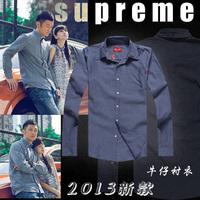 Shirt long-sleeve shirt solid color brief single pocket ministering men's clothing