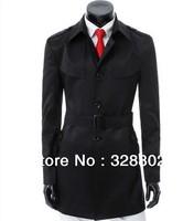 Hot New 2014 Autumn Winter High quality Fashion Long Black Trench Coat Men Outdoor Jacket Korean Long Trench Coat XXXL Big Size