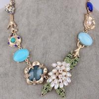 Free shipping New Luxury Crystal  Beads Charm Necklace Ks Style Flower Wedding Necklace Trendy Jewelry 2013