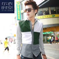 Spring and autumn color block star personality irregular male long-sleeve shirt velvet stripe shirt men's clothing