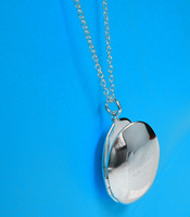 Min order is 15 u.s.d.,(can mix order), new silver  oval frame  necklace -318