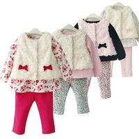 RETAIL 1SET Baby girls 3 Piece Suits: white Roses velvet waistcoat+flowers t-shirt + red pants kids clothing set princess set