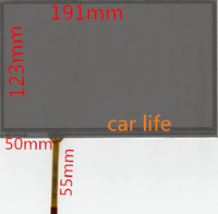 1pcs Black Reduce reflective 8 inches 4 pin glass touch screen panel 191*123mm for car Control instrument DVD GPS  free shipping