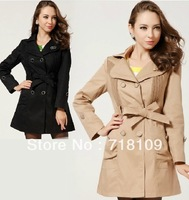 New style Hot Sale  Women Vogue Vintage Chic Cotton Long Sleeve Long Dust Coat Jacket  free shipping