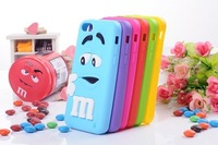 Wholesale+Retail 1pcs New 2013 3D Rubber M&M Fragrance Chocolate Rainbow Beans case For iphone 5C free shipping