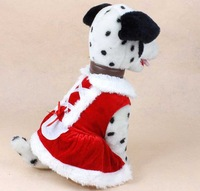 New design Christmas dog clothing cute Girl santa dress pet cloth warm winter small medium dog cat Chihuahua Yorkshire Poodle
