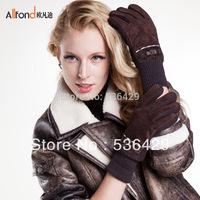 2013 new  Autumn-winter Brands add antiskid warm velvet thickening ski gloves women,genuine leather  ski gloves free shipping