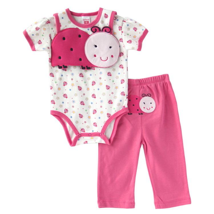 Bebe short sleeve 3pcs clothing set bib bodysuit pants baby set