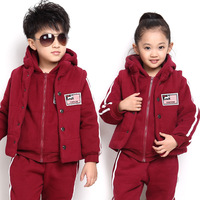 2013 new winter men plus thick velvet three-piece parent-child