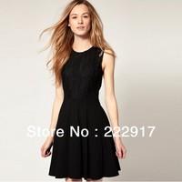 2013 New Fashion Women Back Lace Nip-waisted Black Dress Patchwork Party Mini Dress Sleeveless