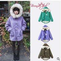 Free shipping Women lambs wool super warm winter clothes cotton coat heavy hair collar fashion 3 colors The high quality
