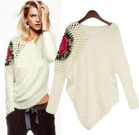 2013 New fashion plus size women's retro hollow bat sleeve rose sweater tank tops Knitwear knitting sweaters Free shipping