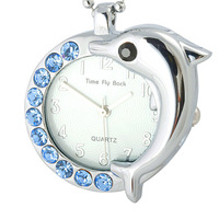 Time fly back,dolphin pocket ladies watch blue diamond accessories pocket watch fashion rhinestone table lovers gift