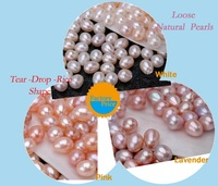 Loose pearls wholesale/retail,7~8mm AAA+ tear drop rice pearls,natural freshwater pearl, white/ pink/ lavender best quality