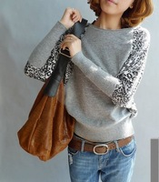 2013 New fashion Women Loose bats big yards Leopard knited Sweaters tank tops Knitwear knitting sweaters Free shipping