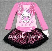 New children's clothing sets kids girls kitty cartoon top tops  + tutu leice skirt skirt girl 2 pcs set XZQ