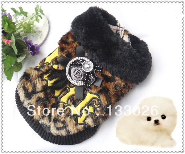 New design dog clothes pet clothing leopard print punk winter dog coat warm for Chihuahua Yorkshire Pitbull Poodle dogs cats(China (Mainlan