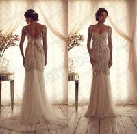 Sexy vestidos de chiffon Backless Summer Garden Vintage Wedding Dresses 2014 bride dress novia with beading Free shipping AC1307
