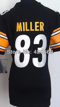 Fashion Brand #83 Heath Miller Women Jersey White/Black Rugby Football Jerseys American Game Lady Jersey Size S M L XL XXL