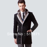 Fashion Brief Double Breasted Business Casual Medium-long Slim Woolen Fur Collar Overcoat Outerwear Male Thickening Trench Coat