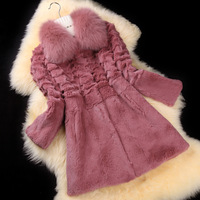 Luxury winter clothes Fur 2013 medium-long three quarter sleeve fox rabbit fur coat female