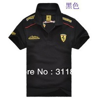 Free shipping  F1 Embroidery  men / women cotton sports wear polo t shirt turn-down collar short