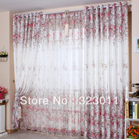 Beautiful Pprincess Curtains with Flowers Printed Rustic Style Processed 4mtrs/lot Drape+Sheer Free DHL