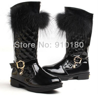 Christmas gift 1pair Girls fashion snow boots Genuine leather Girls boots with rabbit fur Baby shoes Winter New Design shoes