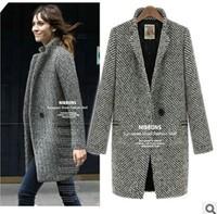 2013 autumn winter ladies grey ,black high quality thick wool+cotton swallow gird coat women elegant warm outerwear sizeS,M,L,XL
