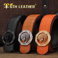 New Arrive Men Genuine Leather Belt Man Luxury Real Cowskin Leather Belts Leopard Demonds Buckle  Free Shipping  No022