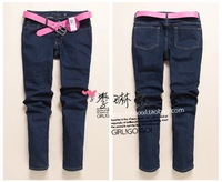 FREE SHIPPING 82 - 102 fashion classic blue slim straight jeans