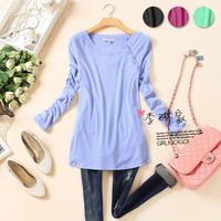 FREE SHIPPING 80 - 168 fashion o-neck oblique buckle long-sleeve basic shirt
