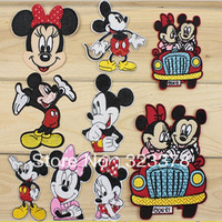 Sales promotion ! mixed design Minnie Mouse Mickey mouse embroidered patches iron on Motif Applique,cloth accessories,14pcs/lot