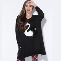 FREE SHIPPING 2013 fashion formal plus size loose o-neck long-sleeve women's top